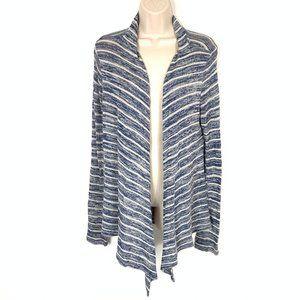 Womens Cardigan Blue White Stripes Medium